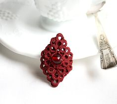 Hey, I found this really awesome Etsy listing at https://www.etsy.com/ru/listing/224665659/garnet-red-fiber-tatting-lace-statement
