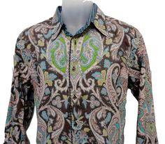 ROBERT GRAHAM Mens Long ... Mens Printed Shirts, Robert Graham, Unique Outfits, Paisley Print, Printed Cotton, Long Sleeve Shirts, Shirt Dress, Mens Tops, How To Wear