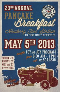 Poster design by Rendered Screen Print and Design's Jessica Brittell for Newberg Fire Station pancake breakfast