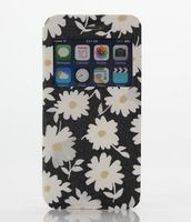 Cheap High Quality Leather Case for Iphone6 black daisy Pattern mobile phone Bag for Apple Iphone 6 Cases Back Cover