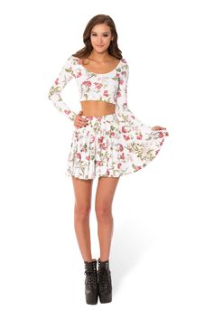 Gorgeous Garden White Long Sleeve Crop (WW $55AUD / US - LIMITED $50USD) by Black Milk Clothing