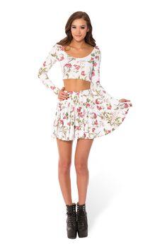 Black Milk Clothing Gorgeous Garden White Cheerleader Skirt M Medium for sale Cheerleader Skirt, Casino Outfit, Black Milk Clothing, White Long Sleeve, Skirt Outfits, Two Piece Skirt Set, My Style, Womens Fashion, Sleeves