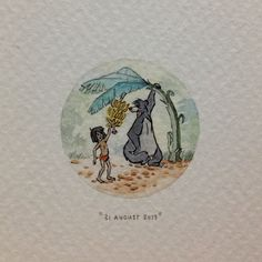 Day 243 : Mowgli and Baloo from The Jungle Book, for roaring, growling little Rahul - conqueror of misery. 29 x 29 mm. #365paintingsforants #watercolor #miniature #thejunglebook #mowgli #baloo