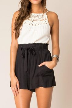These high waisted shorts are a must have for Spring. You can wear them casual or dressy.  Tie Shorts by Black Swan. Clothing - Shorts - High-Waisted Miami Florida
