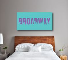 Do you dream of being on Broadway someday?  If so, this canvas will give you a daily reminder of your dreams and goals!  It will look perfect in any thespian's bedroom or dorm room.  You can customize it with the colors of your choice or choose the purple and aqua colors shown.  This unique, custom wall art would make the perfect Christmas present or birthday gift for any boy or girl who loves music theatre or theatre.