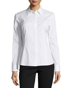 Studio 148 by Lafayette 148 New York Long-Sleeve Ciella Woven Blouse, White New offer @@@ Price :$278 Price Sale $123.25