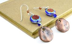 enamel and copper earrings cobalt blue and copper by justbujewelry on Etsy