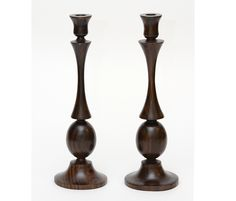 Pair of turned wood candlesticks