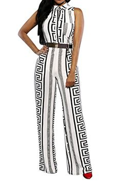 ** Modern Pink Queen Ladies White Geometric Sleeveless Button Unfastened Jumpsuits Rompers XXL