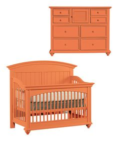 Take a look at this Tangerine Built to Grow Applaud Crib & Dresser by Young America
