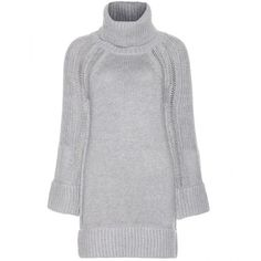 Burberry London Wool and Cashmere-Blend Knit Dress (7 005 ZAR) ❤ liked on Polyvore featuring dresses, tops, shirts, sweaters, grey, grey wool dress, wool dress, burberry, wool knit dress and grey dress