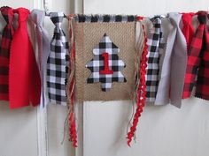 Lumberjack High Chair Banner Highchair Fabric Garland First Birthday Photo Prop Smash Cake Black White Buffalo Plaid Woodland Onederland 1st Birthday Pictures, Fabric Garland, High Chair Banner, Hanging Photos, Fabric Strips, Jute Twine, Party Hats, Photo Props, First Birthdays