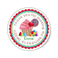 Cute personalized candy buffet stickers for a kid's party. #birthday #kids #diy