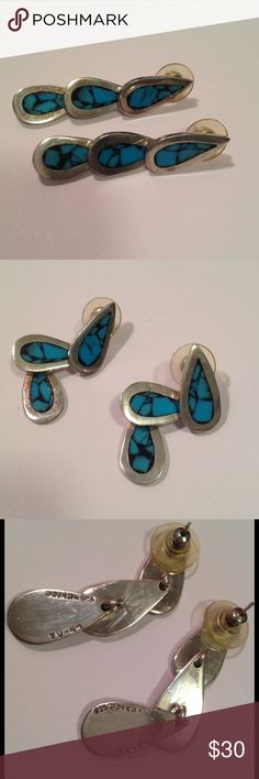 """Vintage Sterling turquoise earrings Vintage Sterling post style dangle earring, 3 teardrop shaped with inlaid turquoise chips. Measure 1 3/4"""" long, Marked 925 Mexico with makers mark very little tarnish good vintage condition Vintage Jewelry Earrings"""