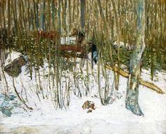 """""""Chargement de glace"""", huile sur toile de Julian Alden Weir (1852-1919, United States)"""