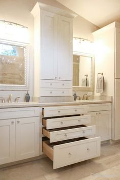 Cabinet layout in bath? If we have that entire length, split it up with a tall cabinet? I want drawers under sink though. Shaker Style Kitchen Cabinets, Kitchen Cabinet Styles, Toffee, Under Sink Drawer, Master Bath Layout, Discount Cabinets, Real Kitchen, Master Bath Remodel, Home