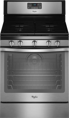"""Whirlpool - 30"""" Self-Cleaning Freestanding Gas Convection Range - Black-on-Stainless Steel - Front Zoom"""