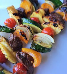 Makes for an easy dinner idea the kids can help make~Steak and Vegetable Kabobs.  Recipe at www.insidekarenskitchen.com