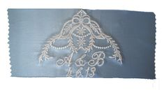 Heirloom Cascade Embroidered Bridal Blue by InitialImpressions, $17.00