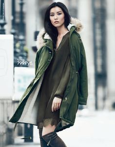 Supermodels Natasha Poly, Liya Kebede and Liu Wen join forces for H&M's Fall Winter advertising campaign captured by fashion photographer Jonas Akerlund with styling from Robert Rydberg. Liu Wen, Fall Winter 2014, Autumn Winter Fashion, Fall Fashion, Alternative Rock, Green Parka, Green Coat, Khaki Green, Liya Kebede