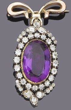 A late century amethyst and diamond brooch/pendant, circa 1890 The oval mixed-cut amethyst within an old brilliant-cut diamond border, to old brilliant and single-cut diamond foliate terminals, suspended from a later 9 carat yellow gold ribbon bow sur Purple Jewelry, Amethyst Jewelry, Gemstone Jewelry, Victorian Jewelry, Antique Jewelry, Vintage Jewelry, Gold Ribbons, Diamond Brooch, Pearl Pendant