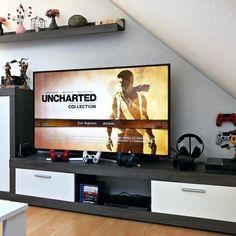 Interior Design Blogs, Video Game Decor, Video Game Rooms, Living Room Setup, Game Room Design, Game Room Decor, Gamer Room, Entertainment Room, House Design