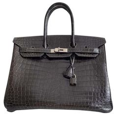 Sacs à main Hermès Birkin 35 Crocodile Porosus Lisse Cuirs exotiques Marron ref.191296 - Joli Closet