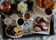 How to Host a Coffee Get-Together. Two cups of coffee, some sweet rolls, shortbread, and cream and sugar Feed Your Soul, Coffee Date, Chocolate Factory, Chocolate Covered Strawberries, Cream And Sugar, Shortbread, Hot Chocolate, Good Food, Fun Food