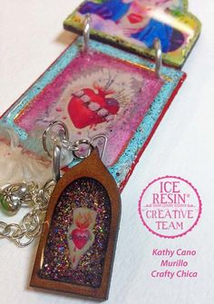 Here is a Sacred Heart Necklace I made for @ICE Resin®  - I really enjoyed this project! #resin #sacredheart