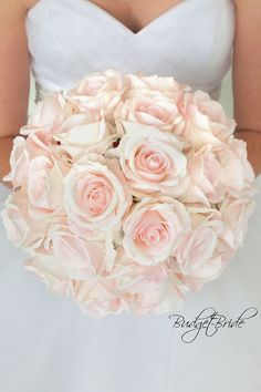 Blush David Bridal Wedding Bouquet with blush pink roses