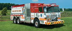 The Pierce dry-side tanker can haul to gallons of water while stowing equipment on both sides and comfortably accommodating hose lines. Fire Dept, Fire Department, Ambulance, Washing Dc, Cool Fire, Fire Equipment, Rescue Vehicles, Truck Engine, Heavy Truck