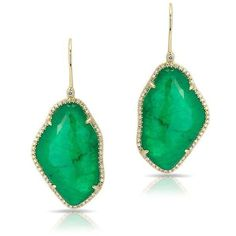 14KT Yellow Gold Emerald Nuage Diamond Earrings (6,150 SAR) ❤ liked on Polyvore featuring jewelry, earrings, earrings jewelry, gold jewellery, gold jewelry, gold diamond jewelry and emerald earrings