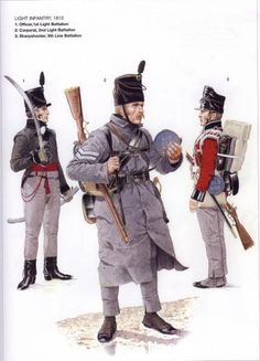The King's German Legion (2) - 1812-1816 LIGHT INFANTRY 1813 1_Officer, 1st Light Battalion 2_Corporal, 2nd Light Batalion 3_Sharpshooter, 5th Line Batalion