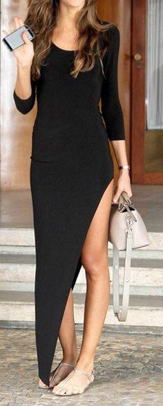 Black Plain Irregular U-neck Long Sleeve Dress