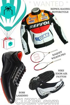 CAN YOU #GET THESE ITEMS?  Item 1 #RACING MOTOCYCLE #REPSOL For #CUZIN Balu  Item 2 #RAQUET #WILSON BLX PRO STAFF 95  For #CUZIN pedro.puello  Item 3 #BOSS LARENNO  For #CUZIN nikolas140  Item 4 #NIKE AIR ZOOM #PAYTON IV  For #CUZIN eastsideyahh