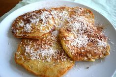 Oatmeal pancakes with apricots and cocos Healthy Sweets, Healthy Breakfast Recipes, Healthy Recipes, I Love Food, A Food, Food And Drink, Coconut Pancakes, Oatmeal Pancakes, Baking With Kids