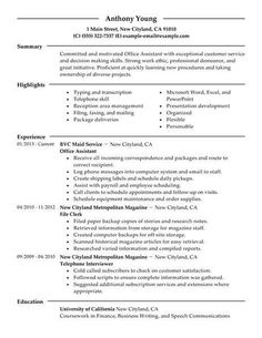 Resume Examples Office Assistant Resumeexamples