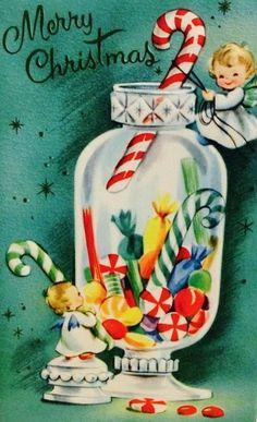 #candycanes #christmascandy Vintage Christmas Card. Retro Christmas Card.