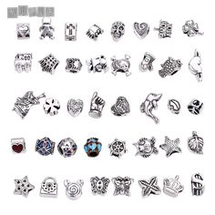 Big Hole Beads Fit Pandora Charms Antique Silver Metal Zinc Alloy Mixed DIY Beads Charm for Bracelets Making B8759