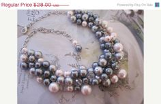 Wedding Jewelry Chunky Cluster Pearl Necklace Light Blush Pink and Gray/Grey Pearl Gunmetal Bridesmaid Jewelry Bridal Necklace on Etsy, $23.80