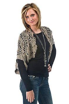 Forla Paris Ladies Tan Grey Crochet Short Sleeve Shrug