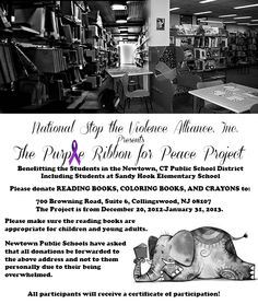 """""""Purple Ribbon for Peace Project,"""" sending reading books (children's and young adult), coloring books, and crayons to the students in the Newtown, CT Public School District. Help if you can!"""