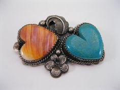Lot 68 - Navajo Silver Heart Pin / Pendant w Turquiose & Shell signed SC