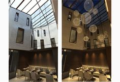 Atrium in the day and evening