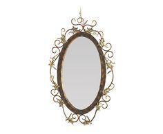Miroir fer forgé, brun et vieil or