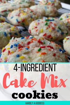 Easy Cake Mix Cookies are made with just 4 ingredients- well, 5 if you count the sprinkles! You are going to love having this recipe on hand to make with or for your kids this summer! #cookingwithkids #easydesserts #cookies