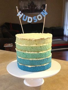 Ombre christening cake