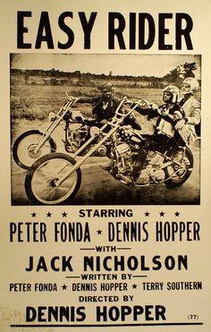 Poster advertising the movie, Easy Rider, starring Peter Fonda, Dennis Hopper, and Jack Nicholson. Horror Movie Posters, Classic Movie Posters, Cinema Posters, Concert Posters, Classic Movies, Old Movies, Vintage Movies, Vintage Posters, Biker Movies