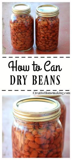 Dry Beans Recipe and instructions for canning dry beans in a pressure canner.Recipe and instructions for canning dry beans in a pressure canner. Canning Soup Recipes, Canning Beans, Pressure Canning Recipes, Canning Tips, Home Canning, Canning Potatoes, Easy Canning, Pressure Cooking, Chutney