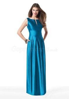 Sheath Blue Taffeta Split Bateau Neck Bridesmaid Dress picture 1